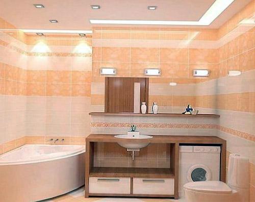 Потолочные и настенные светильники в маленькой ванной
