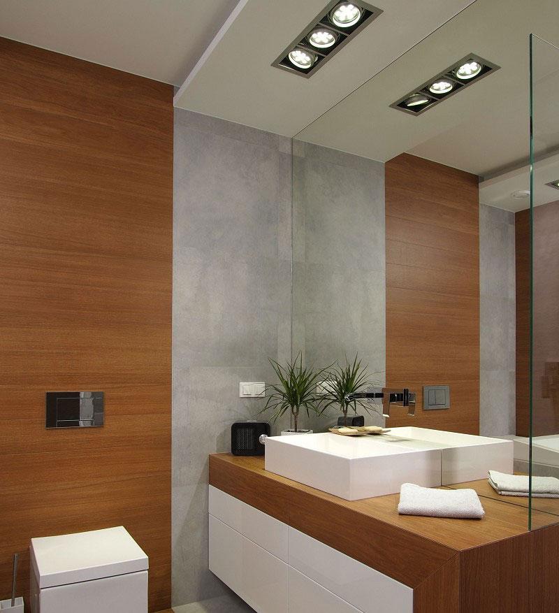 Потолок с освещением для ванной комнаты 2018