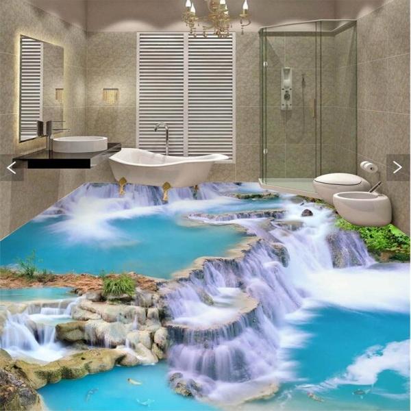 Применение красивого пола с реалистичным изображением в 2018 году для ванной