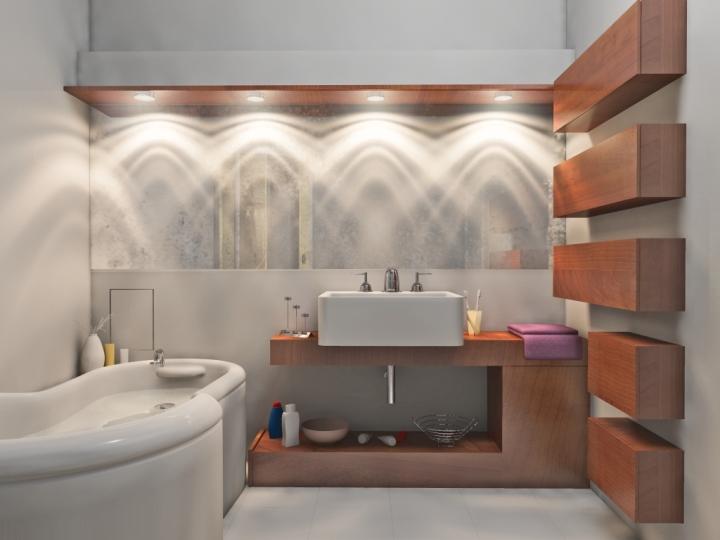 Пример практичного освещения ванной