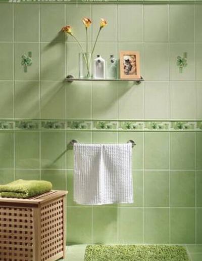 Приятный светлый тон плитки зеленого цвета