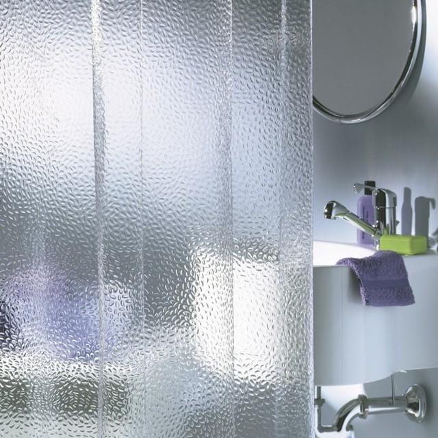 Прозрачные занавески модные для ванной в 2018 году