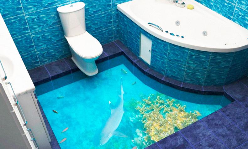 Реалистичный 3D пол с дельфином в ванной