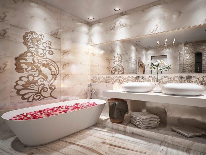 Рисунки на покрытии отделочных панелей для ванной