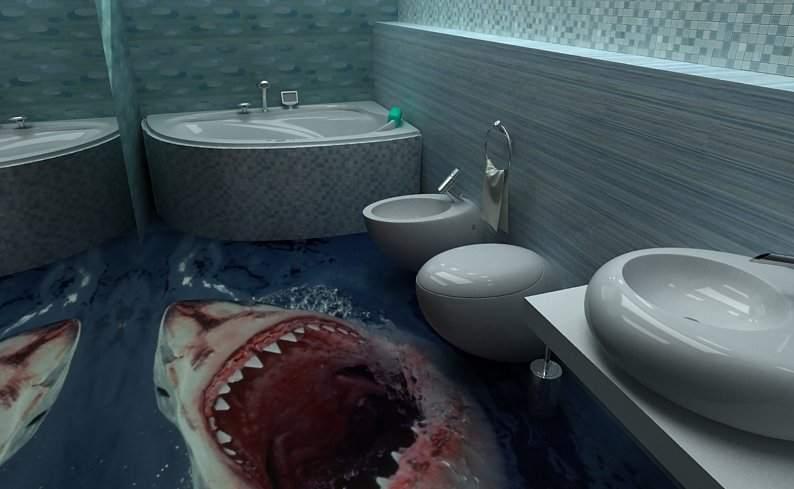 Самые невероятные рисунки под ногами в ванной комнате