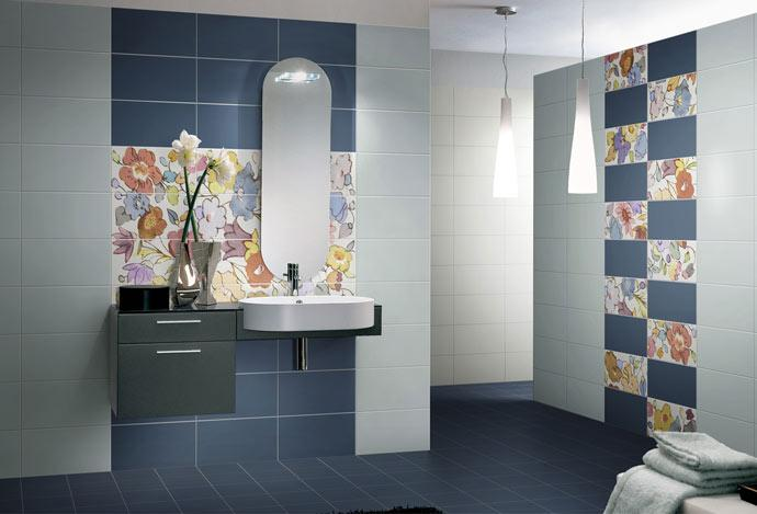 Синие оттенки интерьера ванной комнаты 2018