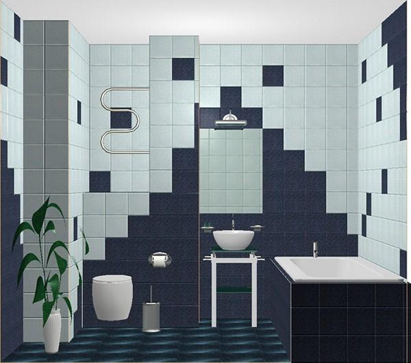Синий дизайн укладки плитки в ванной