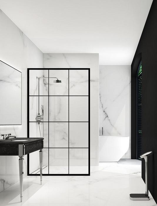 Стильная чёрно-белая ванная.
