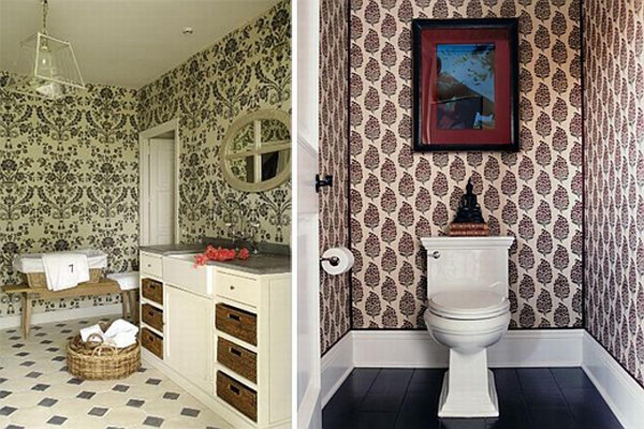 В качестве материала для отделки ванной можно использовать обои