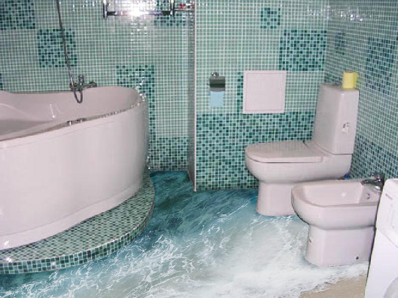 Ванная комната с полом 3д