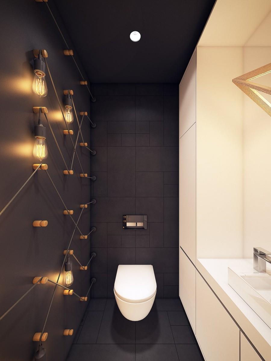 В интерьере данного помещения прекрасно смотрятся как большие бра, так и точечные светильники