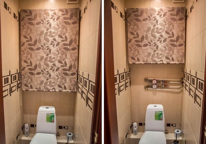 Рулонные жалюзи в туалете