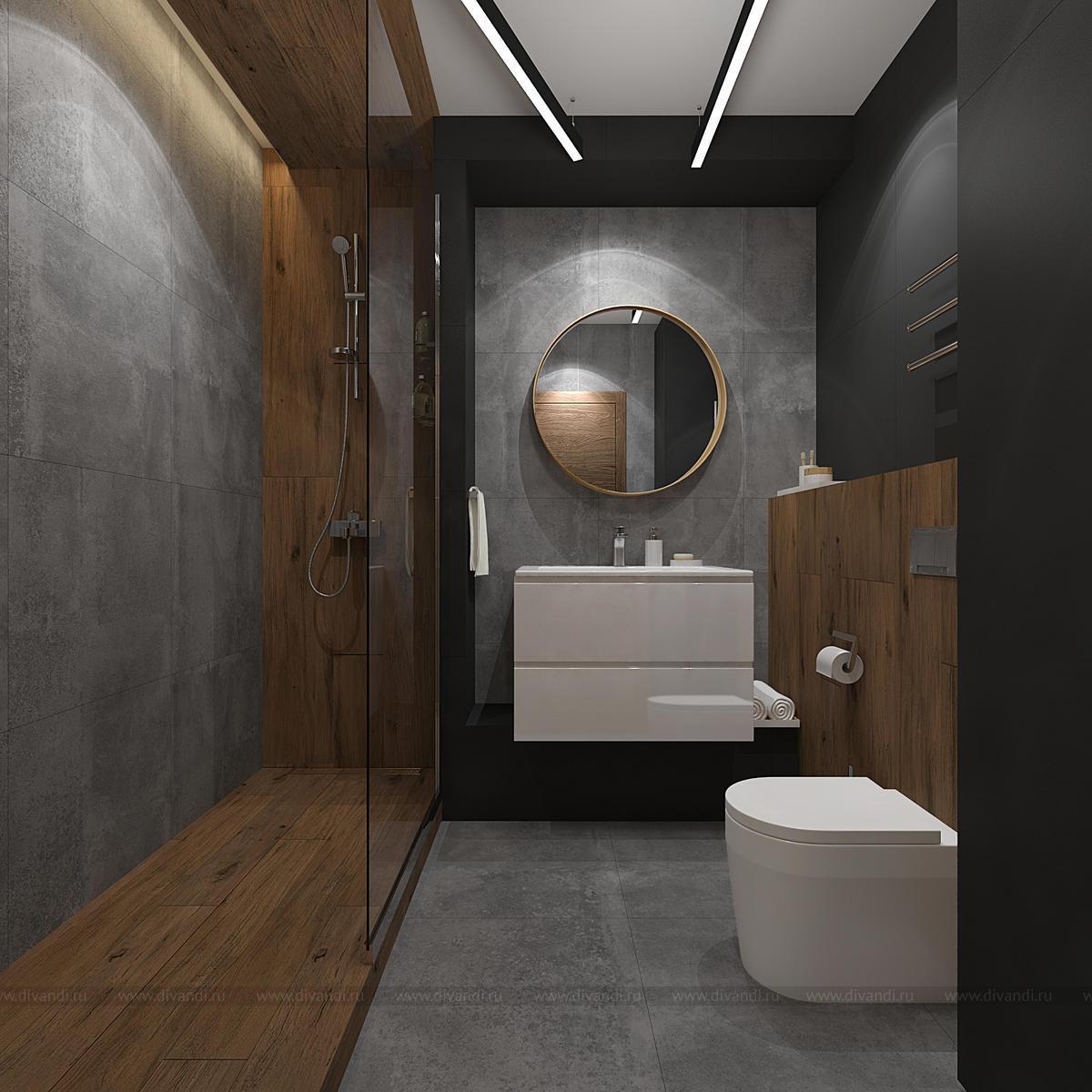 Ванна и туалет в стиле лофт