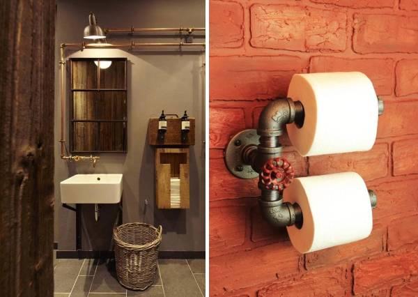 Ванная комната в стиле лофт - стильные аксессуары