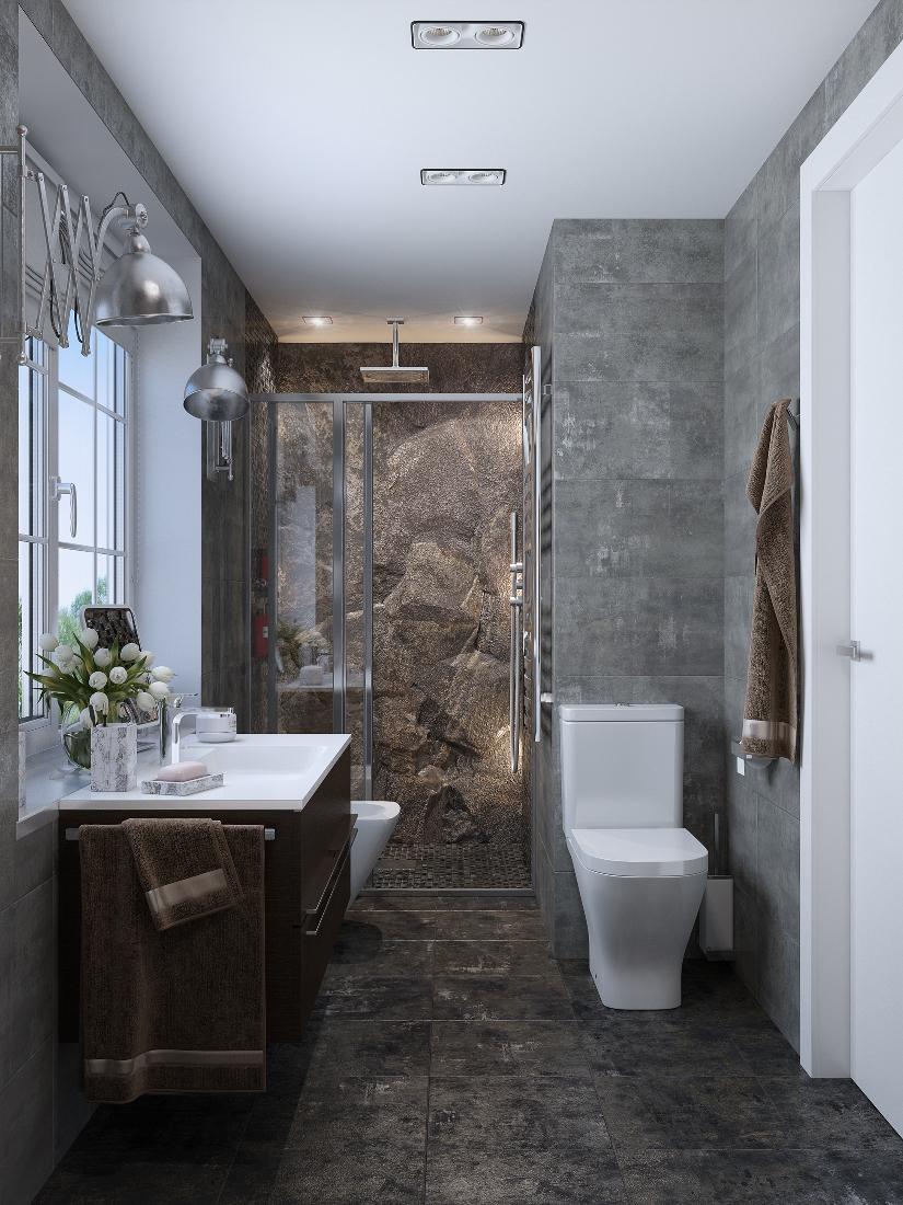 Зона туалета в душевой в стиле лофт
