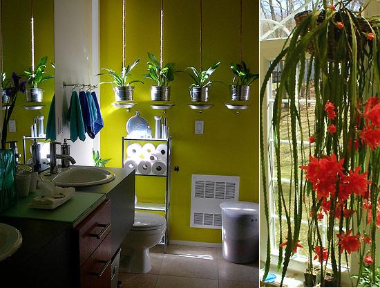 Оформление ванной комнаты живыми цветами